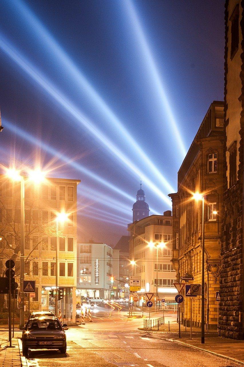 road, city, at night